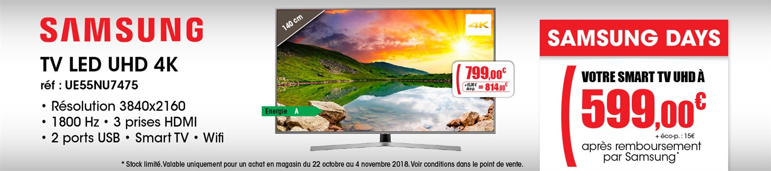 TV LED Samsung UE55NU7475TXXC